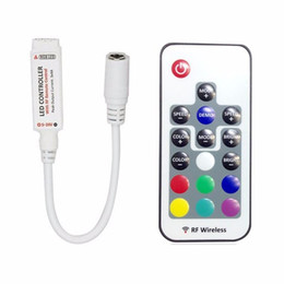 Wholesale rgb rf remote - DC12-24V 17 key mini RF wireless led RGB remote controller with 4pin female to control led strip SMD 5050 lighting and module