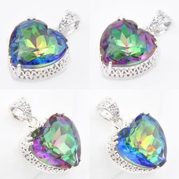 Wholesale Rainbow Gems - 6 Pieces Luckyshine Antique Heart Rainbow Mystic Topaz Gems 925 Sterling Silver Pendants for Neckalce Russia Canada Drop Easter gift Jewelry