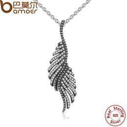 Wholesale Sterling Feather Necklaces - Wholesale-BAMOER New Arrival 925 Sterling Silver Majestic Feathers Pendants Necklaces with Clear CZ Female Fine Jewelry PSN005