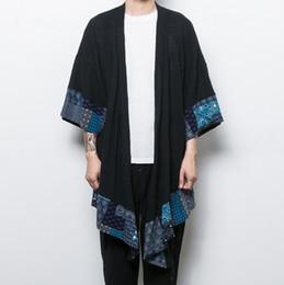 Wholesale Mens Cool Trench Coat - Wholesale- Fashion Autumn Chinese Wind Overcoat Stylish Cool Linen Mens Gothic Coats Jackets Long Black Trench Coat Men Windbreaker Cloak