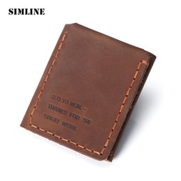 Wholesale Cards Life - Wholesale- The Secret Life Of Walter Mitty Genuine Wallet Vintage Handmade Crazy Horse Leather Wallet Slim Purses Card Holder Men Money Bag