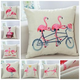 Wholesale Cover Pillow Case Bird - Flamingo Printed Cushion Cover Sofa Pillowcase Flamingo Birds Cushion Case Office Car Square Hold Pillow Cover Christmas Decor Pillow SF48