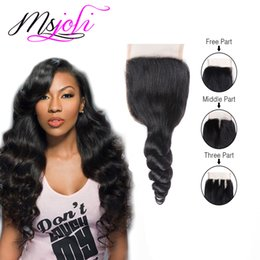 Wholesale Ms Top - Peruvian Virgin Human Hair 4x4 Lace Top Closure Loose Wave Natural Black Three Middle Free Part From Ms Joli 6-22 Inches