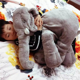 Wholesale Long Nose Animal - Baby Sleep Pillow Elephant Doll Plush Toys INS Lumbar Long Nose Soft Bolster Pillows Birthday Gift 60 CM