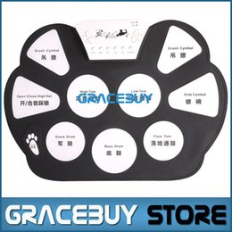 Wholesale Practice Drum Pad Electronic - Wholesale- Portable Electric Digital Practice Drum Pad Set USB Electronic Drumset Kit Musical Drumpad With Drum Sticks Foot Pedal New