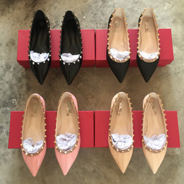 Wholesale Stud Heel Shoes - new 2017 luxury cat studs women flats shoes sexy pointed toe rivet full genuine leather free shipping big size 41 42