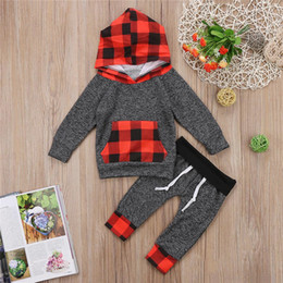 Wholesale Baby Clothes Gift Sets - Newborn Baby Boy Girl Plaid Toddler Hooded Top+Pants 2-piece Set Outfits Red Black Kid Clothing Xmas gift