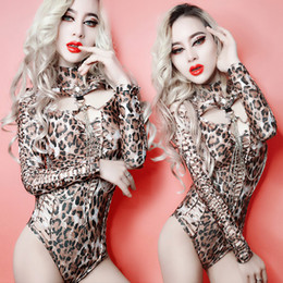 Wholesale Sexy Leopard Female Costumes - female singer DS nightclub bar sexy bodysuit stage costumes new long sleeve sexy slim jumpsuit Leopard print hollow out performance costume