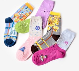 Wholesale Wind Socks - 5 styles girls fashion socks Ladies Cotton floral Socks women HAPPY Swedish national wind sports socks top quality with cheap price