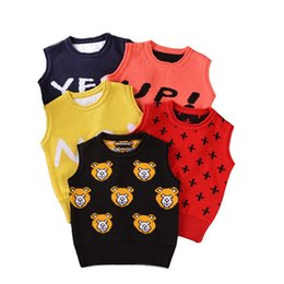 Wholesale Spring Sweater Vest For Boys - Ins spring and autumn kids sweater vest for little girls and boys children cartoon bear vest 1-4 years old baby cotton tops baby tank top