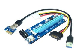 Wholesale Usb Sata Ide - Wholesale PCIe PCI-E PCI Express Riser Card 1x to 16x USB 3.0 Data Cable SATA to 4Pin IDE Molex Power Supply for BTC Miner Machine RIG