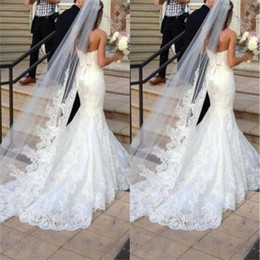Wholesale Princess Cathedral Veil - Princess Wedding Veils Cheap Long Lace Bridal Veils One Layer Custom Made Lace Applique Edge Bride Veil Free Shipping CPA091