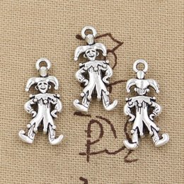 Wholesale Antique Clown - Wholesale-99Cents 6pcs Charms clown joker jester 25*12mm Antique Making pendant fit,Vintage Tibetan Silver,DIY bracelet necklace