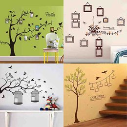 Wholesale Bird Cage Bedroom Stickers - HOT wall stickers Decals DIY Photo Frame Tree Plant green leaves birds cages home decor home decoration living room bedroom