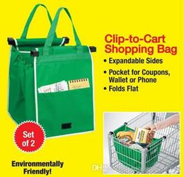 Wholesale Wholesale Reusable Retail Bags - 2pcs Grab Shopping Bag Durable Reusable Supermarket Bag That Clips To Cart Built-in Cart Grab Clips Storage Foldable Bag retail package a952