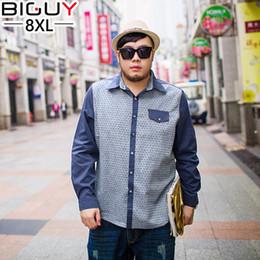 Wholesale Big Tall Shirts 5xl - Wholesale- Plus Size 5XL 6XL 7XL 8XL Mens Shirts Casual 2016 Spring Big Tall Dot Men Shirts Long Sleeve Men Clothing 692shirt