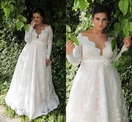 2019 vintage kleider vestido noiva renda Garten A-Linie Empire-Taille Spitze Plus Size Hochzeitskleid mit langen Ärmeln Sexy langes Hochzeitskleid für Plus Size Hochzeit NADPW006
