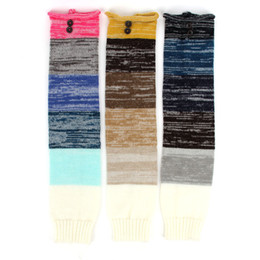 Wholesale Girl Knit Boots - New women fashion leg warmers colorful knitted wool multicolor mosaic buttons sets Ms. leggings boots warm stockings Knit button socks
