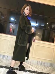 Wholesale Knitted Fox Fur Cardigans - Wholesale- Women mink cashmere fur coat nature fox fur V neck long cape coat Female high quality mink cashmere cardigan women fur coats
