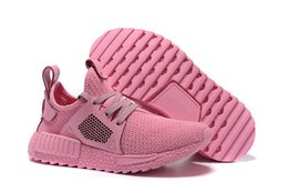 Wholesale Red Christmas Table Runner - With Box Pink Color NMD Runner Shoes Women 2017 New Christmas Running Shoes For Men NMD Olive Green Sneakers Size 36-46