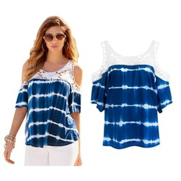 Wholesale T Shirts Tie Dyed - 2017 New Women Summer T-shirt Short Sleeve Fashion Lace Stitching Tie Dye T shirts Blue Color Gradient Plus Size Loose O-neck Patchwork
