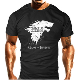 Wholesale Game Sleeves - Summer Top quality short anime sleeve game of thrones print men tshirt casual cotton winter is coming mens t shirts couple t shirt