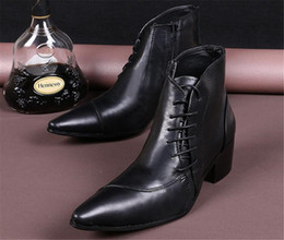 Wholesale Low Heeled Ankle Booties - New Leather Lace Up Cowboy Ankle Boots Mens Fashion Martin Shoes Genuine Leather 100% Mens Dress Booties 46