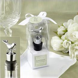 Wholesale Love Wine Pourer - Stainless Steel Love Bird Wine Stopper Bridal Wedding Gift Wine Bottle Stopper Wine Pourer Vinhos Stoppers WA1415