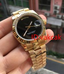 Wholesale Men Original Watch - AAA luxury men automatic watch Big Black face Mechanical men's watches Sapphire original 18K Gold Stainless steel clasp WATCH 36MM colock