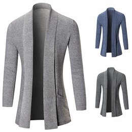 Wholesale Pure Wool Jacket - 2017 fashion style no access control Autumn and winter new sweater pure color cardigan sweater Slim long coat jacket