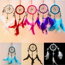 Wholesale Circular Decoration - Lovely Handmade Indiana Dream Catcher Net With Feather White Beads Dreamcatcher Circular Wall Hanging Car Home Decor Gift YYA171