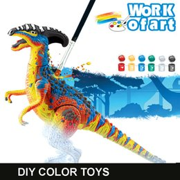 Wholesale Dinosaur Paint - Wholesale- 1 Piece Color Painted Toys Children Puzzle Model Toy Painted Dinosaurs Baby Kids Imagination Painting Ability Toy