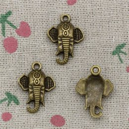 Wholesale 16mm Antique Bronze Pendant - 80pcs Charms elephant head 22*16mm Antique Bronze Pendant Zinc Alloy Jewelry DIY Hand Made Bracelet Necklace Fitting