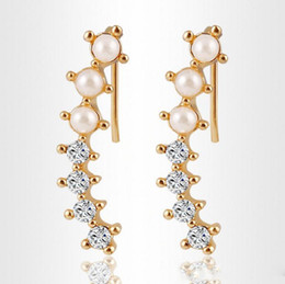 Wholesale Gold Diamond Ear Cuffs - Fashion Hot sale Women Gold Color simulated Pearl Shining Crystal Earring Cuff Ear Clips Earring Jewelry HZ