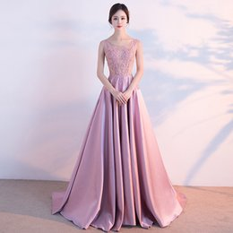 Wholesale Maternity Knit Tops - Sheer Pink Beading Top Scoop Pink A-line Beading Prom Dress Open Back Evening Dress vestidos de graduacion