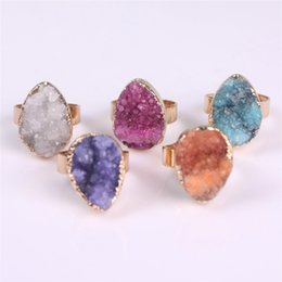Wholesale Druzy Geode Agate - Water Drop Natural Stone Rough Drusy Mineral Ring Agate Druzy Gemstone Gold Plated Stud Ring Geode Tear Drop Ring Healing Energy Jewelry