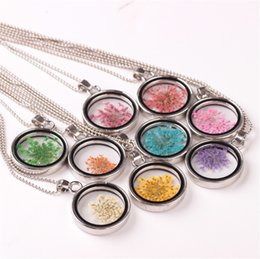 Wholesale Photo Frame Pendant Necklaces - 2017 Fashion Glass Photo Frame Pendant Necklace DIY Personality Natural Gemstone Retro Necklace Silver Plated Jewelry For Women Accessories