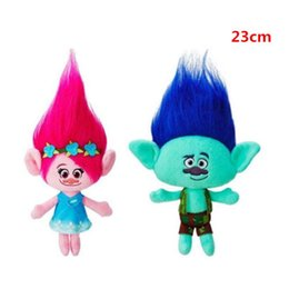 Wholesale Troll Wholesale - 23cm Hot New Movie Trolls Plush Toy Poppy Branch Dream Works Stuffed Cartoon Dolls The Good Luck Trolls Christmas Kids Gifts