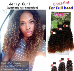 Wholesale Synthetic Hair Extension Noble Gold - New production blonde purple brown Noble Gold BohemianJerry Curly Synthetic Hair Extensions Ombre 1B 30 purple Hair Weaving Weft 6 Packs Lot