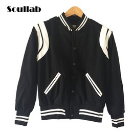 Wholesale Men Star Jacket - Wholesale- High Quality Star Looks Fashion Mens Letterman Jackets For Men Hip Hop Hoodies brand style Varsity Jacket casual coat tops thick