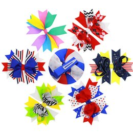 Wholesale Wholesale Diamond Hair Pins - 6colors Girls Grosgrain Ribbon big bow hairpins kids Independence Day hair accessory stars stripes diamond Barrette cute bowknot hair pin fo
