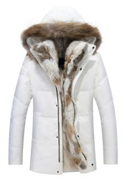 Wholesale Real Rabbit Coat - New Hot Sale Unisex Parkas Mens Jacket Winter Down Real Rabbit Fur Hooded Coats Warm Thick Outwear