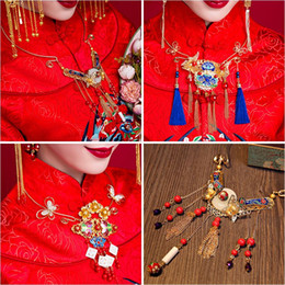 Wholesale Hanfu Women - Woman headdress hair Chinese antique Necklace Ring Necklace classical Chinese bride Ramon Xiuhe Hanfu accessories 1560028