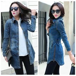 Wholesale Denim Jacket Women Xxl - Wholesale- Vintage Women Denim Jacket 2016 Woman Casual Washed Jean Jacket Slim Holes Zipper Long Jean Coat Outwear Female Clothing S-XXL