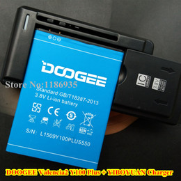 Wholesale Yiboyuan Charger - Wholesale- Original DOOGEE Valencia2 Y100 Plus Mobile Phone Battery 3.8V 3000mAh + YIBOYUAN Wall Dock Charger Adapter