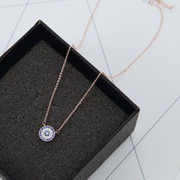 Wholesale Rose Zircon Necklace - Fashion Blue White Zircon Crystal Round Pendant Neckalce for Women Collar Jewelry Elegant Choker Necklace Rose Gold Plated Ladies Bijoux