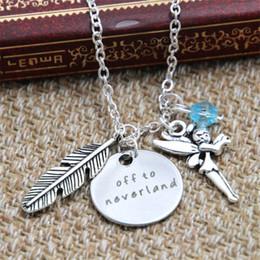 Colar de prata e pena de charme on-line-12 pçs / lote Peter Pan Inspirado Off to neverland colar azul cristais pena elf charme Nunca terra tom de prata