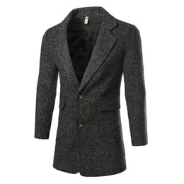 Wholesale Trend Coat For Men - Wholesale- New Trend Pea Coat Men Autumn Winter Korean Fashion Big Pocket Mens Slim Fit Wool Blends Trench Coat Casual Overcoat For Men
