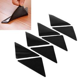 Wholesale Black Plastic Carpet - 4Pcs Rug Carpet Mat Non Slip Skid Grippers Reusable Washable Silicone Grip Black Free Shipping