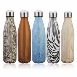 Wholesale Bicycle Insulated Bottle - 2017 wood grain 500ML Water Bottle cola shaped Creative Double Wall 304 Stainless Steel Insulated Vacuum Bottles
